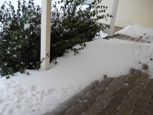 Snow drift, norht porch Dec. 23, 2013
