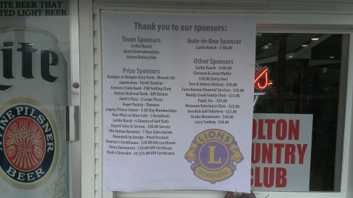 May 2, 2015 Holton Lions Club  First Annual Golf Tournament fundraiser. Serving brats, hotdogs, chips and water to the teams (7)